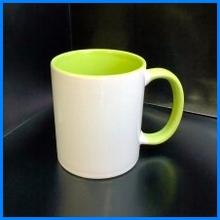 Фотокружка белая, светло зелёная внутренняя часть и ручка